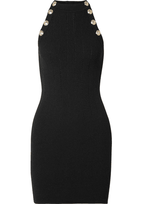 Balmain - Button-embellished Ribbed Wool-blend Mini Dress - Black