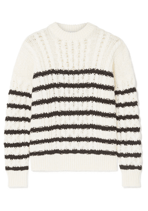 Loewe - Striped Cable-knit Wool Sweater - Ivory