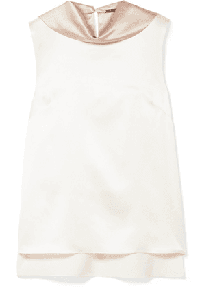 Adam Lippes - Two-tone Silk-charmeuse Top - Off-white