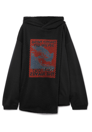 AMBUSH® - Mesh-paneled Printed Cotton-jersey Hoodie - Black