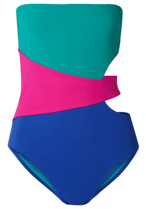 28d9ab036c8f1 Karla Colletto - Marcella Cutout Color-block Swimsuit - Turquoise