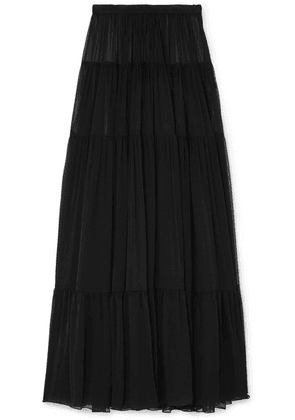 SAINT LAURENT - Tiered Silk-chiffon Maxi Skirt - Black