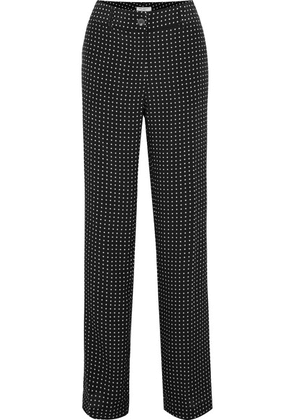 Equipment - Lita Polka-dot Silk-twill Wide-leg Pants - Black