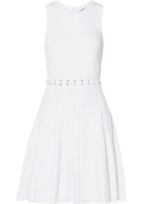 MICHAEL Michael Kors - Whipstitched Pleated Knitted Mini Dress - White