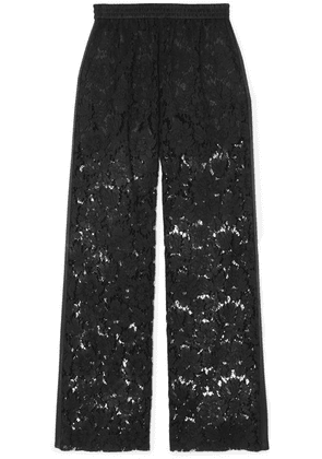 Valentino - Satin-trimmed Corded Lace Wide-leg Pants - Black