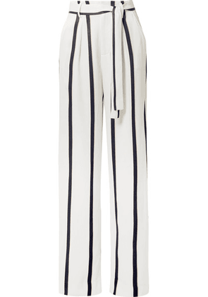 Equipment - Evonne Striped Satin Wide-leg Pants - White
