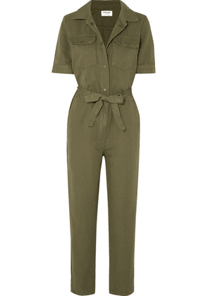 FRAME - Belted Cotton And Linen-blend Jumpsuit - Green