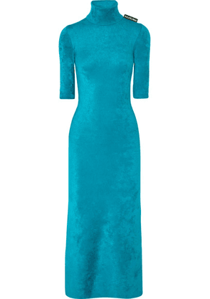 Balenciaga - Stretch-velvet Turtleneck Midi Dress - Blue