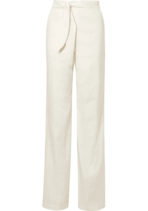 Veronica Beard - Melika Belted Linen-blend Wide-leg Pants - Ivory