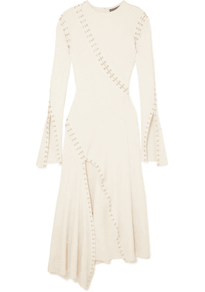 Alexander McQueen - Embellished Cutout Ribbed-knit Midi Dress - Ivory