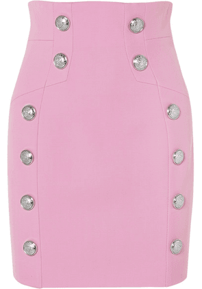 Balmain - Button-embellished Wool-twill Mini Skirt - Pink