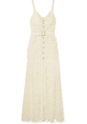 Alessandra Rich - Crystal-embellished Button-detailed Cotton-blend Lace Gown - Cream
