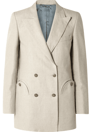Blazé Milano - Everyday Double-breasted Wool-crepe Blazer - Off-white