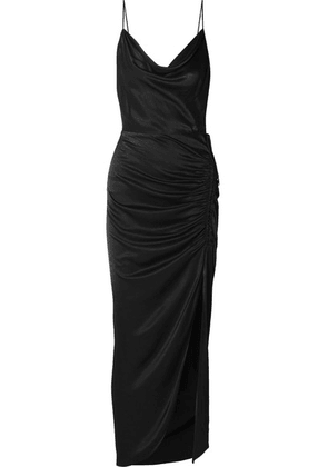 Veronica Beard - Natasha Ruched Satin Maxi Dress - Black