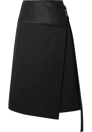 Helmut Lang - Satin-paneled Wool-twill Wrap Skirt - Black