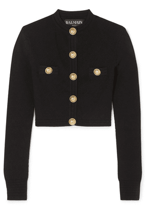Balmain - Button-embellished Jacquard-knit Cardigan - Black