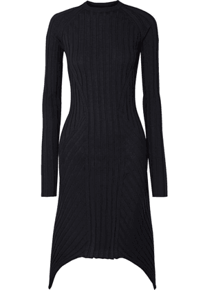Helmut Lang - Asymmetric Ribbed Wool Dress - Midnight blue