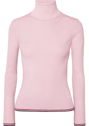 Thom Browne - Ribbed Striped Wool-blend Turtleneck Sweater - Baby pink
