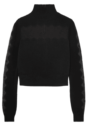 Alexander McQueen - Lace-paneled Ribbed-knit Turtleneck Sweater - Black