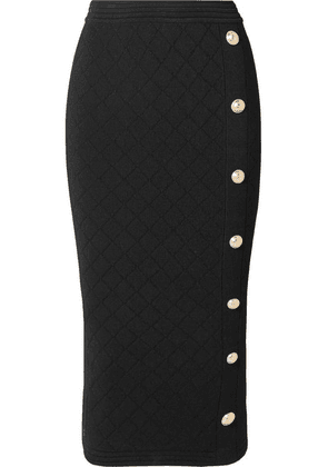 Balmain - Button-embellished Jacquard-knit Midi Skirt - Black