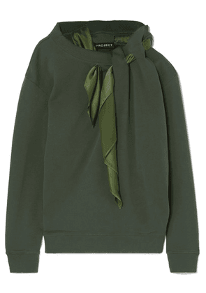 Y/PROJECT - Satin-trimmed Cotton-jersey Sweatshirt - Army green
