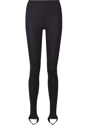 Helmut Lang - Ribbed Wool-blend Stirrup Leggings - Midnight blue
