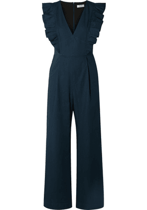 SEA - Stevie Ruffled Cotton-blend Jumpsuit - Navy