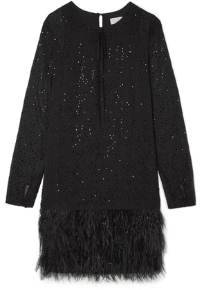 MICHAEL Michael Kors - Crystal And Feather-embellished Chiffon Mini Dress - Black