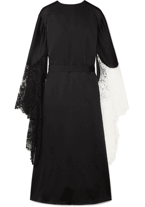 Christopher Kane - Lace-trimmed Satin Midi Dress - Black