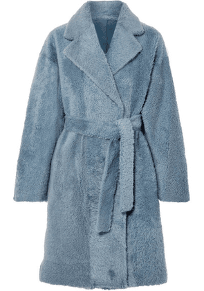 Theory - Belted Shearling Coat - Blue