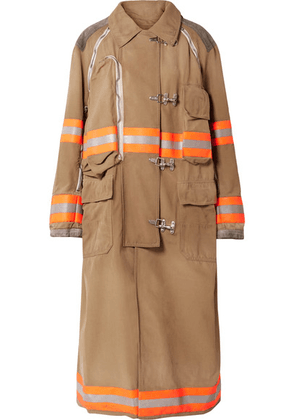 CALVIN KLEIN 205W39NYC - Oversized Convertible Reflective-trimmed Cotton-canvas Coat - Beige