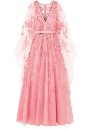Elie Saab - Cape-effect Embellished Tulle Gown - Blush