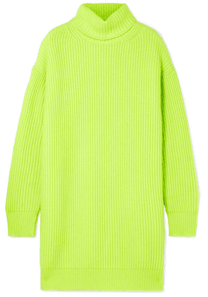 Christopher Kane - Oversized Ribbed Cashmere Turtleneck Sweater - Chartreuse