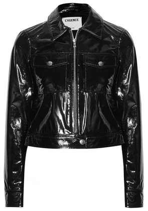 L'Agence - Lex Cropped Textured Patent-leather Jacket - Black