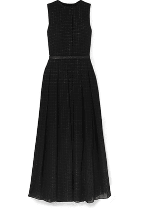 Akris - Belted Metallic Checked Wool-blend Mousseline Gown - Black