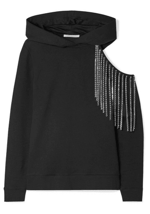 Christopher Kane - Cutout Embellished Cotton-jersey Hoodie - Black