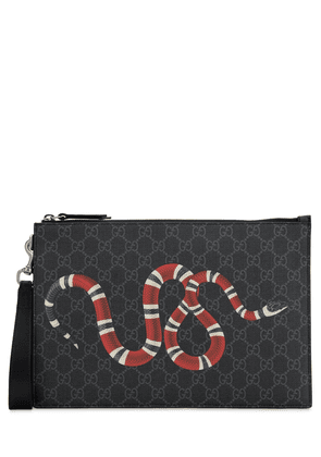 Snake Printed Coated Canvas Pouch