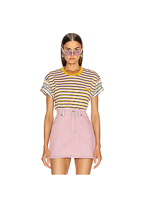 Acne Studios Elvin Face T Shirt in Stripes,Pink,Yellow