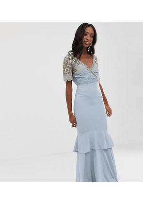 a81a97f3ab Virgos Lounge Tall plunge front embellished tiered maxi dress with train in  ice blue