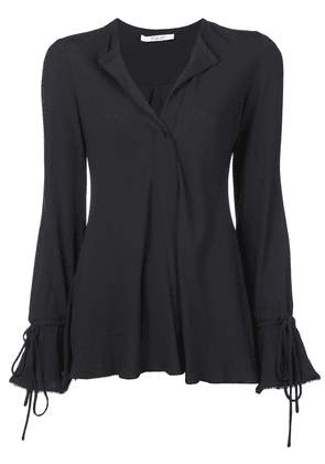 Derek Lam 10 Crosby Long Sleeve Button-Down Blouse with Bell Sleeves -