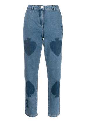 Boutique Moschino spades print jeans - Blue
