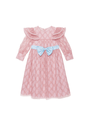 Children's GG embroidered tulle dress
