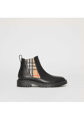 Burberry Vintage Check Detail Leather Chelsea Boots, Size: 40, Black