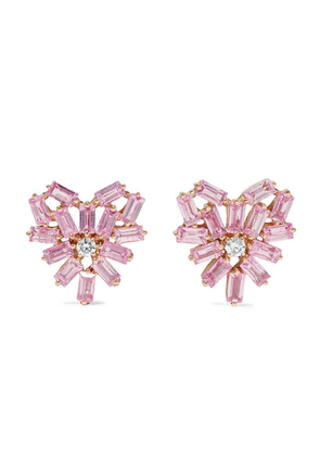 Suzanne Kalan - 18-karat Rose Gold, Sapphire And Diamond Earrings - one size