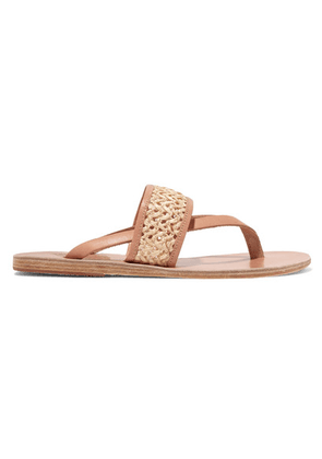 Ancient Greek Sandals - Zenobia Woven Raffia And Leather Sandals - Neutral