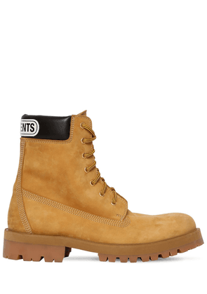 Trucker Leather Boots W/ Logo Patch