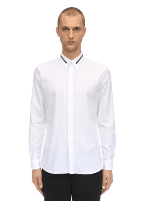 Cotton Shirt W/logo Collar
