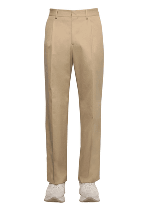 Pleated Cotton Canvas Chino Pants