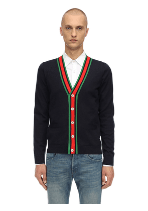 Web V-neck Wool Knit Cardigan
