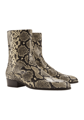 Snake-Print Leather 'Cash' Boots with Zipper